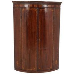 Antique Hanging Corner Cabinet, Inlaid Mahogany, Bow Front, Scotland 1810, B2221