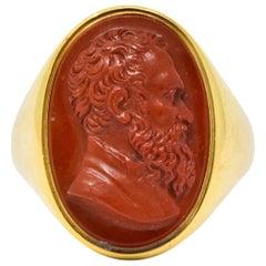 Antique Hardstone 18 Karat Gold Cameo Ring