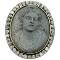 Antique Hardstone Cameo and Diamond Brooch