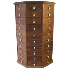 Antique Hardware Store Revolving Bolts and Screw Cabinet 80 Drawers