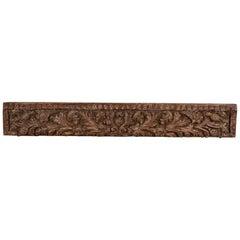 Antique Hardwood Carved Panel, 20th Century