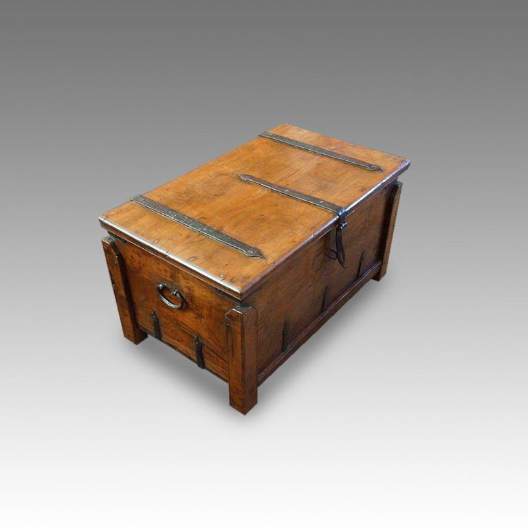 Antique hardwood merchant chest This antique merchant chest was first crafted in the first half of the 19th century. using an Indian hardwood, it is very much of the grain and tone of European walnut. Originally this merchant chest was made to be