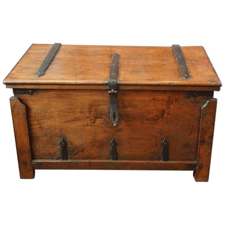 Antique Hardwood Merchant Chest For Sale