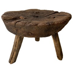 Antique Hardwood Stool from Guanajuato, Mexico