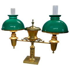Antique Harvard School Classical Brass Double Student Lamp, circa 1890