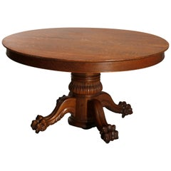 Antique Hastings Carved Oak Claw Foot Split Pedestal Dining Table, circa 1910