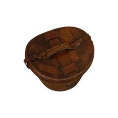 Antique Hat Box, English, Leather, Case, Silk Top Hat, Dunn, Regency, circa 1820