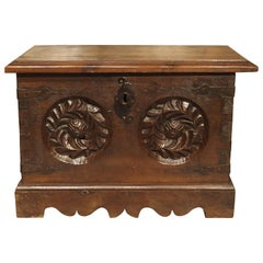 Antique Haute Epoque Style Oak and Iron Trunk from France