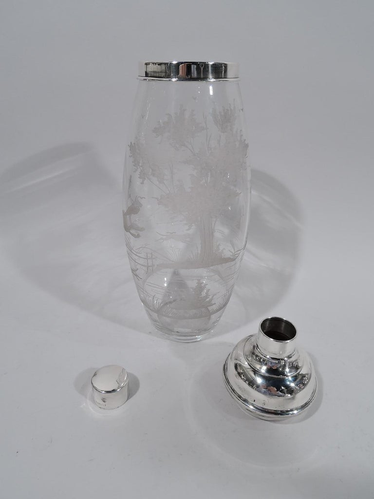 American Antique Hawkes Glass and Sterling Silver Fox Hunt Cocktail Shaker For Sale