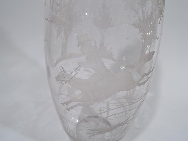 Etched Antique Hawkes Glass and Sterling Silver Fox Hunt Cocktail Shaker For Sale