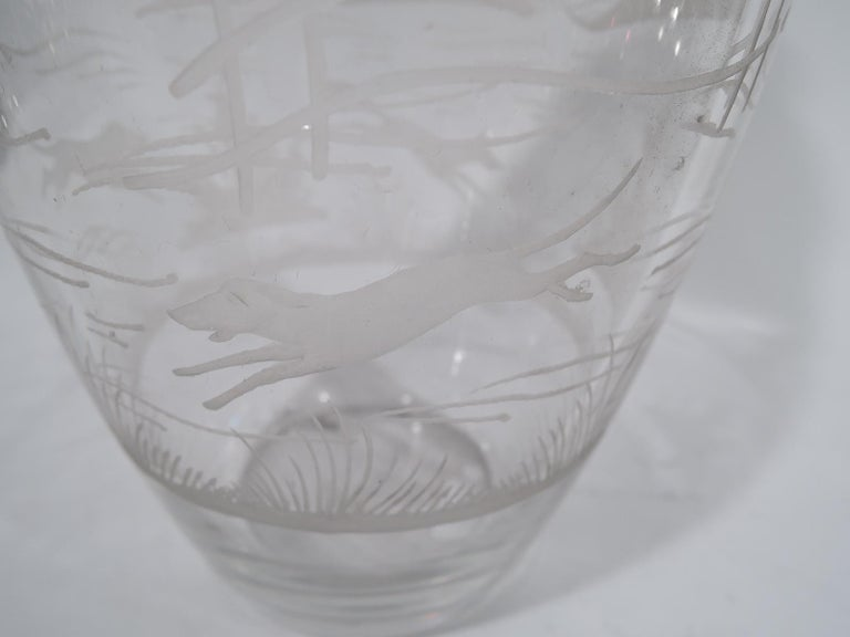 Antique Hawkes Glass and Sterling Silver Fox Hunt Cocktail Shaker In Excellent Condition For Sale In New York, NY