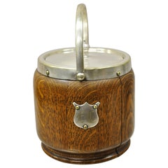 Antique H.C. & C. English Silver Plate and Oak Biscuit Barrel with Lid and Liner