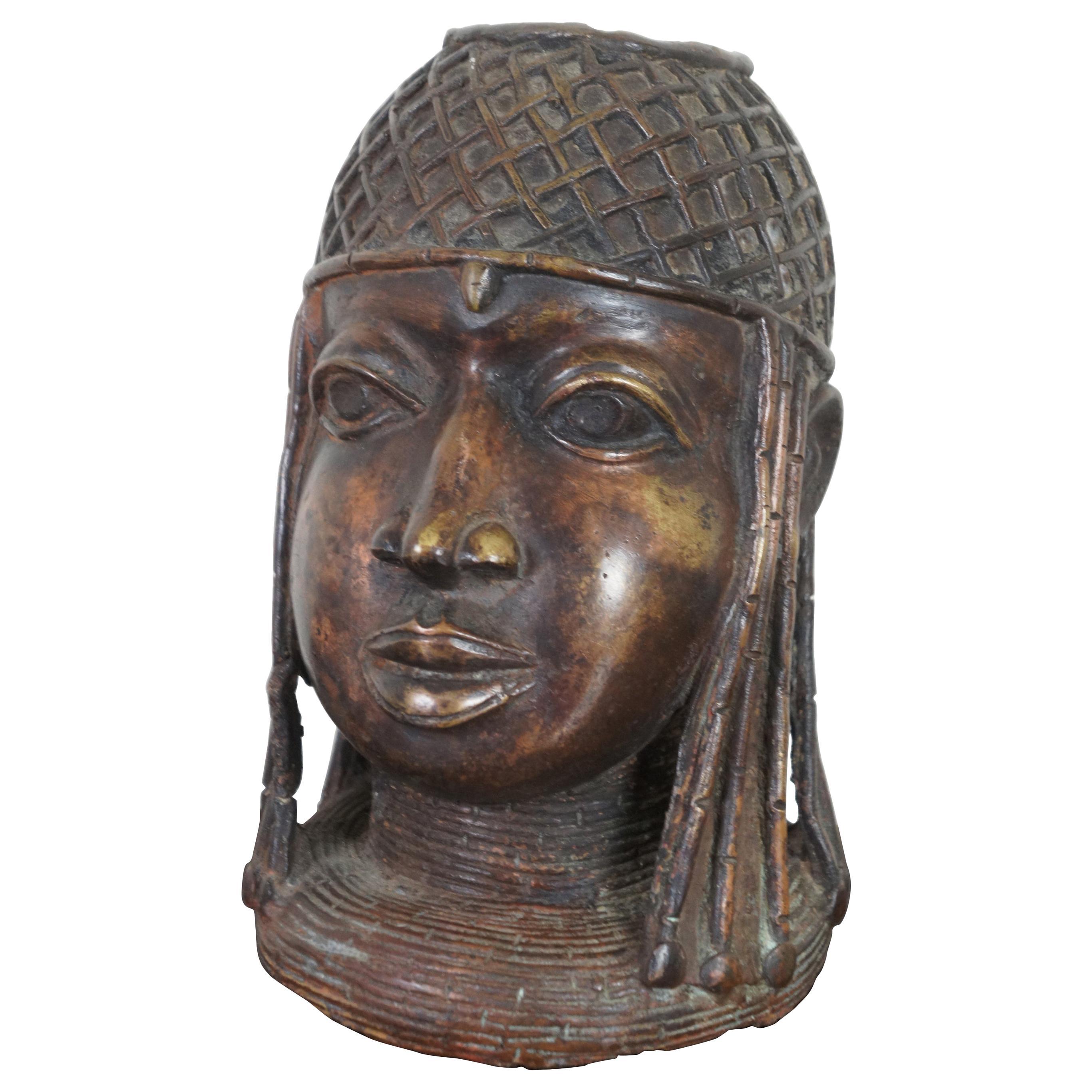 Antique Head of an Oba King Bronze Benin Sculpture African Tribal Altar Bust