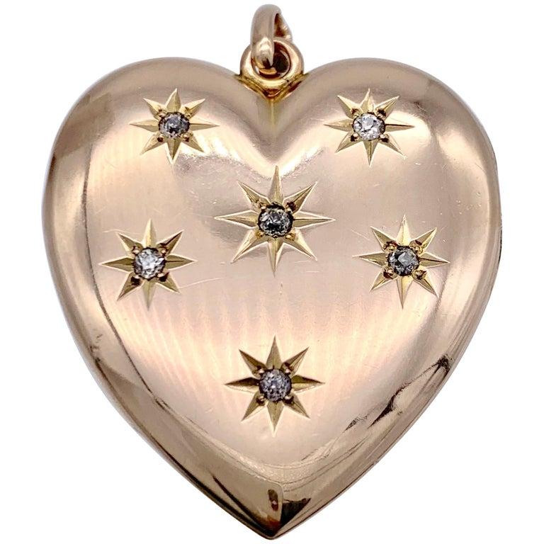 Antique Victorian Heart Locket Pendant 14 Karat Rose Gold Diamonds For Sale