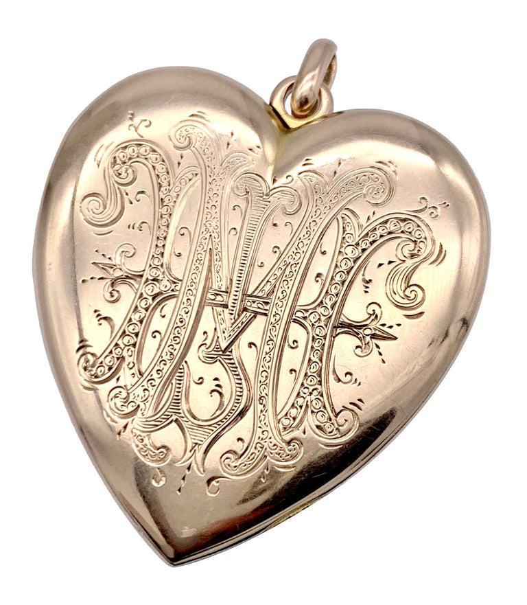 High Victorian Antique Victorian Heart Locket Pendant 14 Karat Rose Gold Diamonds For Sale