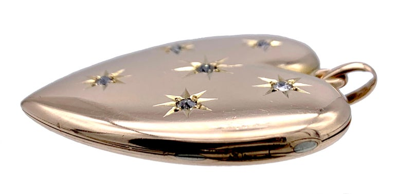 Round Cut Antique Victorian Heart Locket Pendant 14 Karat Rose Gold Diamonds For Sale