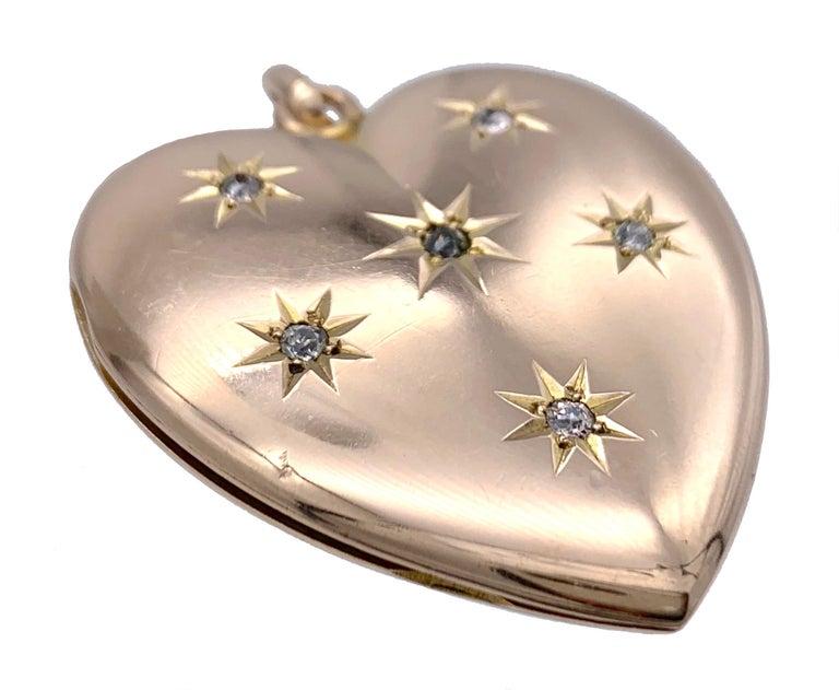 Antique Victorian Heart Locket Pendant 14 Karat Rose Gold Diamonds In Good Condition For Sale In Munich, Bavaria