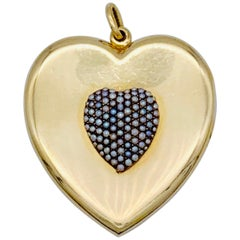 Antique Heart Locket Pendant Orient Pearl Gold Heart Pendant