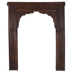 Antique Heavily Carved Teak Doorway Surround from India