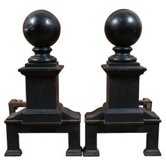 Antique Heavy Cast Iron Cannon Ball Fireplace Andirons Fire Dogs Hearthware