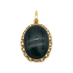 Antique Heliotrope Bloodstone Oval Gold Locket Pendant Chain Motive