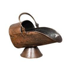 Antique Helmet Fire Basket, Copper, Coal Scuttle, Fireside, Bin, Victorian, 1880