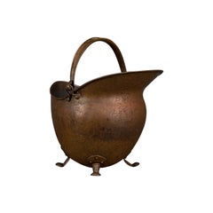 Antique Helmet Scuttle, English, Copper, Coal Basket, Fireplace, Victorian, 1880
