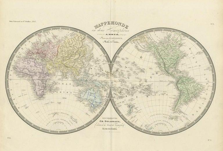Antique map titled 'Mappemonde en deux Hémisphéres'. Large hemisphere world map. This map originates from 'Atlas de Géographie Moderne Physique et Politique' by A. Levasseur. Published 1875.