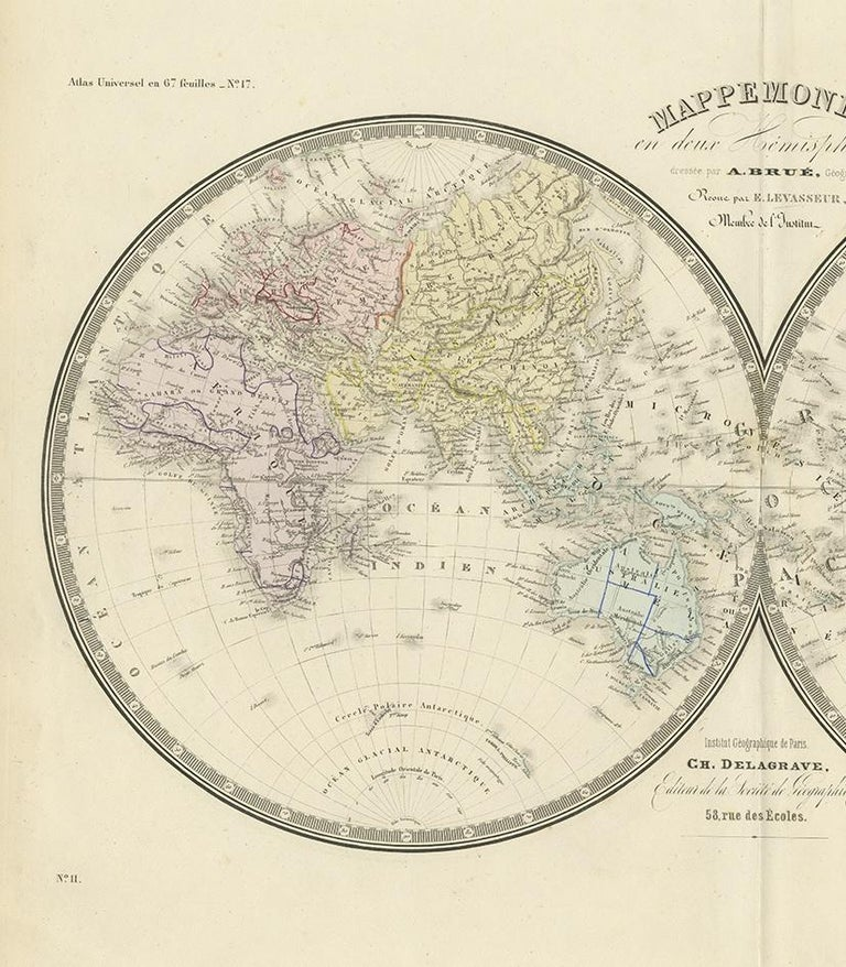 Antique Hemisphere Map of the World by Levasseur, 1875 In Good Condition For Sale In Langweer, NL