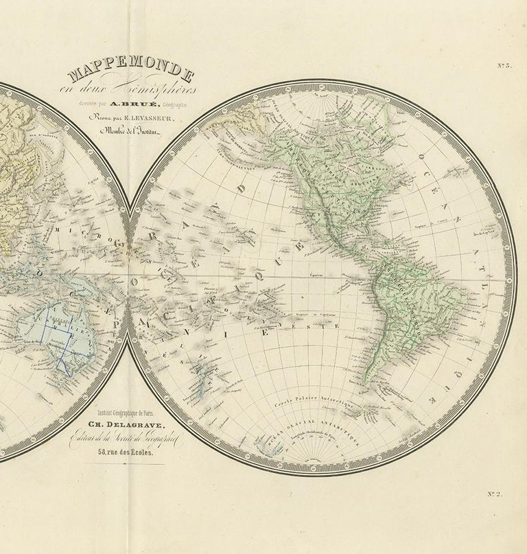 19th Century Antique Hemisphere Map of the World by Levasseur, 1875 For Sale