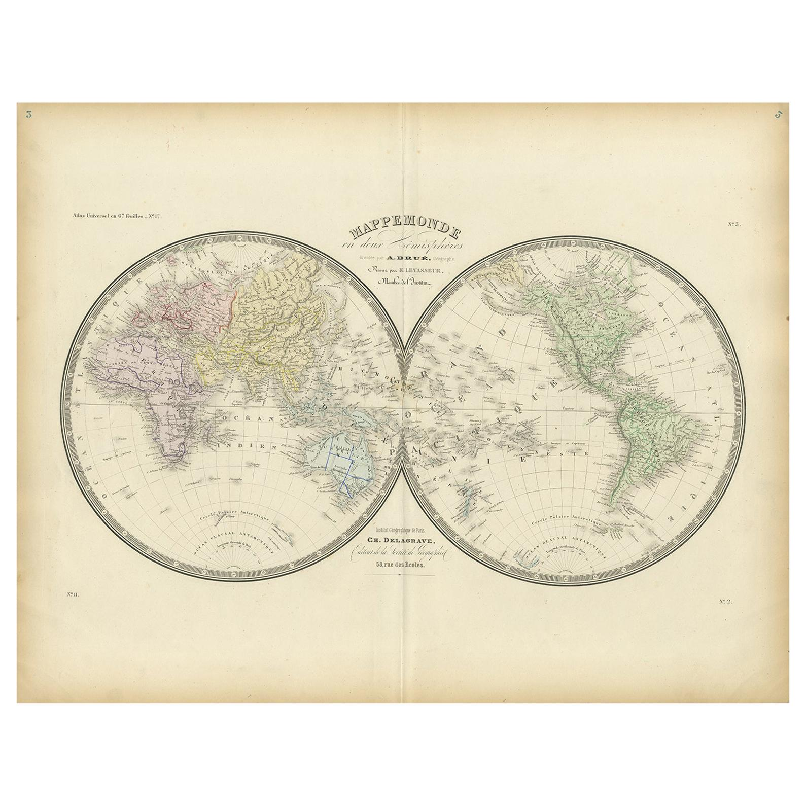 Antique Hemisphere Map of the World by Levasseur, 1875