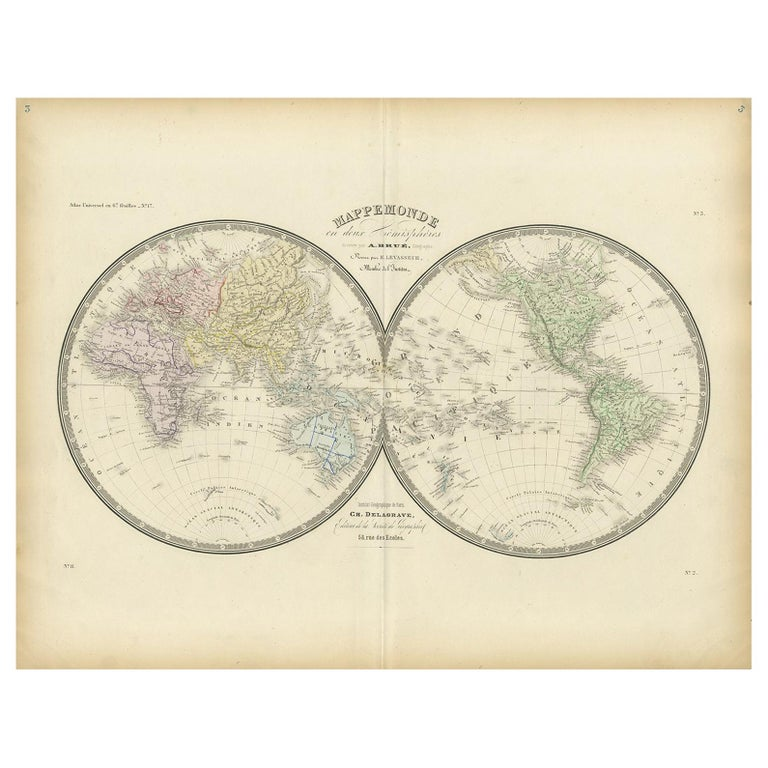 Antique Hemisphere Map of the World by Levasseur, 1875 For Sale