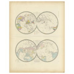 Antique Hemisphere Map of the World 'Two on One Sheet' by Levasseur, '1875'