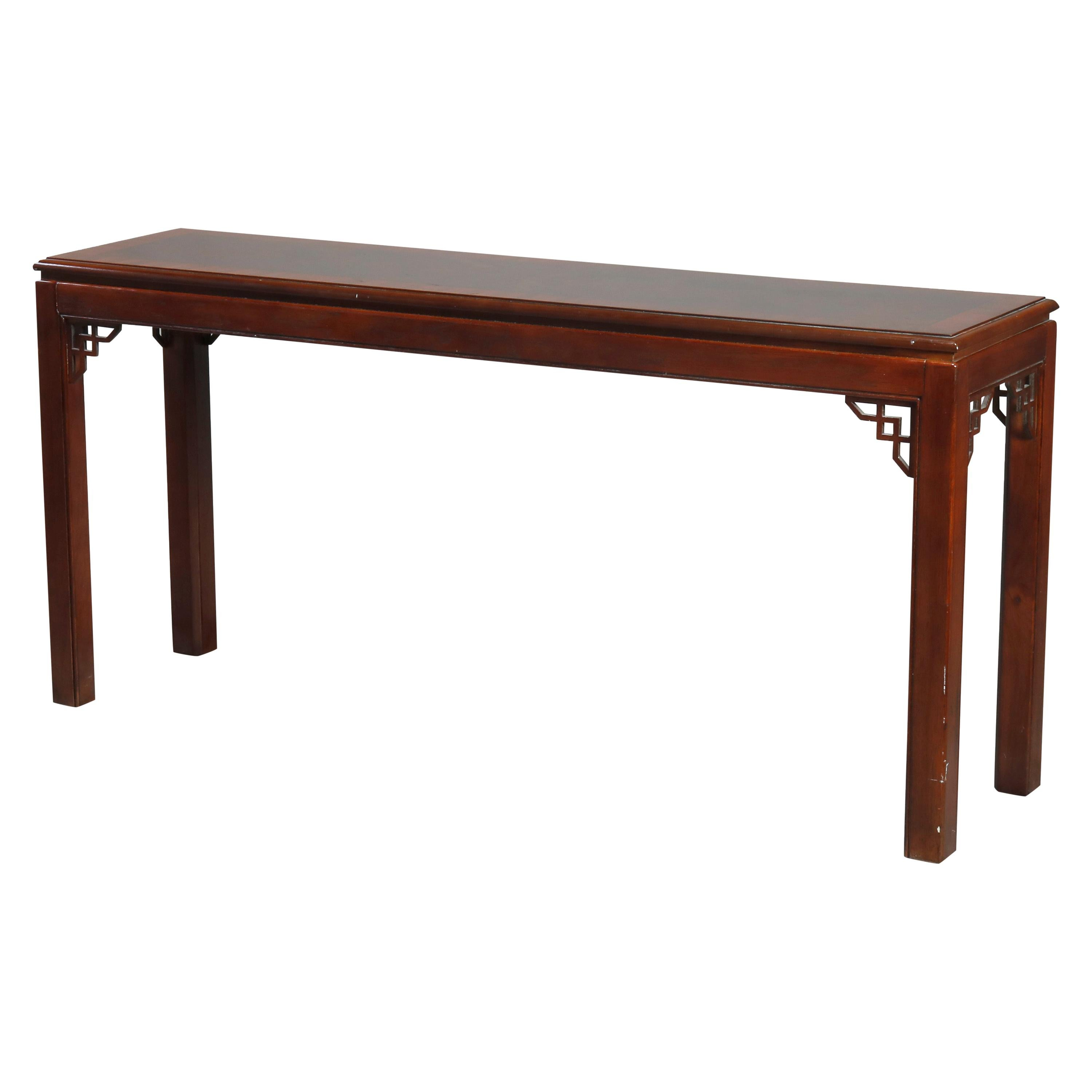 Antique Chinese Chippendale Mahogany Crossbanded Console Table by Drexel, 20th C