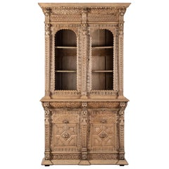 Antique Henri II Style French Oak Bookcase Display Cabinet Bibliothèque, 1880