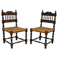 Antique Henry II Walnut Rush Seat Small Childrens Child Side Chairs, a Pair