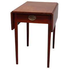 Antique Hepplewhite Style Mahogany Pembroke Single Drawer Side Table, 1830