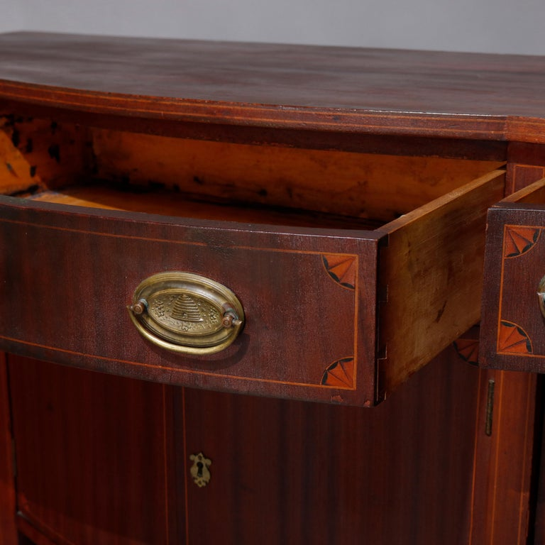 Antique Hepplewhite Style Satinwood Marquetry Inlaid Mahogany Sideboard For Sale 4