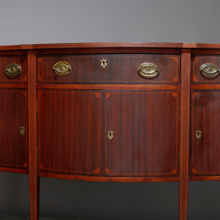 Antique Hepplewhite Style Satinwood Marquetry Inlaid Mahogany Sideboard In Good Condition For Sale In Big Flats, NY