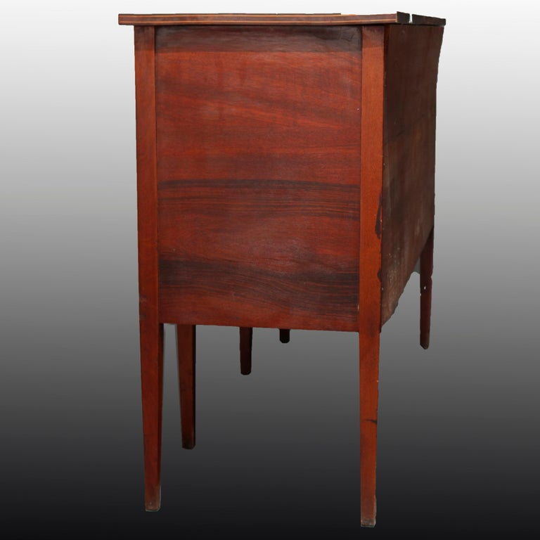 20th Century Antique Hepplewhite Style Satinwood Marquetry Inlaid Mahogany Sideboard For Sale