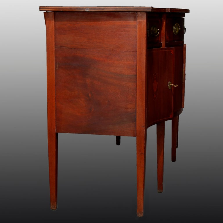 Antique Hepplewhite Style Satinwood Marquetry Inlaid Mahogany Sideboard For Sale 2