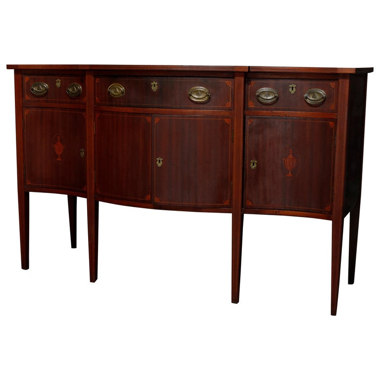 Antique Hepplewhite Style Satinwood Marquetry Inlaid Mahogany Sideboard For Sale