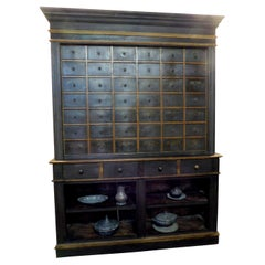Antique Herbal Pharmacy Cabinet with Named Drawers, Early 19th Century, Italy