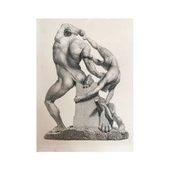 "Antique ""Hercules & Lichas"" Engraving 19th Century Print, Study, after Canova"