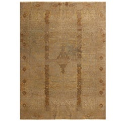 Antique Hereke Beige-Brown and Blue Metallic Wool Rug