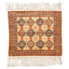 Antique Hereke Geometric Beige Silk Rug Geometric Pattern