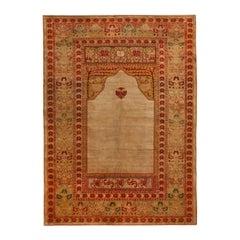 Antique Hereke Golden-Beige and Red Floral Silk Rug