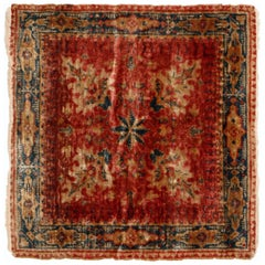 Antique Hereke Red Beige Silk Square Rug with Floral Motifs