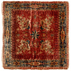 Antique Hereke Red Beige Silk Square Rug with Motifs Floral Pattern