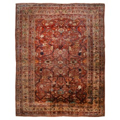 Antique Heriz Brown and Blue Silk Rug with Mahi